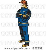 Vector Clip Art of Retro Firefighter Standing with Folded Arms by Patrimonio