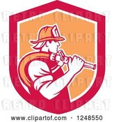 Vector Clip Art of Retro Firefighter with a Hose in a Shield by Patrimonio