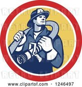 Vector Clip Art of Retro Firefighter with a Hose in a Yellow and Red Circle by Patrimonio