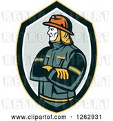 Vector Clip Art of Retro Firefighter with Folded Arms in a Shield by Patrimonio