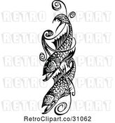 Vector Clip Art of Retro Fish and Swirl Design by Prawny Vintage