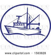 Vector Clip Art of Retro Fishing Boat with Waves in an Oval by Patrimonio