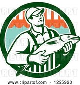 Vector Clip Art of Retro Fishmonger in a Market Circle by Patrimonio