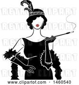 Vector Clip Art of Retro Flapper Girl Lady Holding a Cigarette on a Long Filter by BNP Design Studio