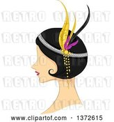 Vector Clip Art of Retro Flapper Lady in Profile by BNP Design Studio