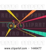 Vector Clip Art of Retro Flat Styled Bicycle with Colorful Rays by BNP Design Studio