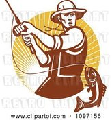 Vector Clip Art of Retro Fly Fisher Man Reeling in a Largemouth Bass Fish in a Circle of Rays by Patrimonio