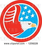 Vector Clip Art of Retro Flying Bald Eagle in an American Flag Circle by Patrimonio