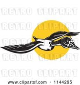 Vector Clip Art of Retro Flying Goose and Sun by Patrimonio
