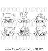 Vector Clip Art of Retro Food Options: Pork, Chicken, Fish, Beef, Vegetarian and Lamb in Black Lineart by AtStockIllustration