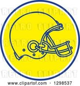 Vector Clip Art of Retro Football Helmet in a Blue White and Yellow Circle by Patrimonio