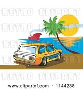Vector Clip Art of Retro Ford Mustang Station Wagon Car on a Beach by Patrimonio