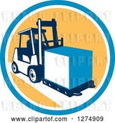 Vector Clip Art of Retro Forklift Moving a Box in a Blue White and Yellow Circle by Patrimonio