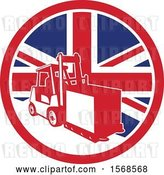 Vector Clip Art of Retro Forklift Moving a Box in a Union Jack Flag Circle by Patrimonio