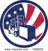 Vector Clip Art of Retro Forklift Moving a Box in an American Flag Circle by Patrimonio