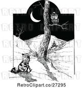 Vector Clip Art of Retro Fox Watching an Owl at Night by Prawny Vintage