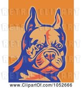 Vector Clip Art of Retro French Bulldog in Blue and Orange by Patrimonio