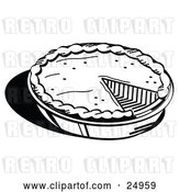 Vector Clip Art of Retro Freshly Baked Pumpkin Pie in a Pan, Missing One Slice, Served for Thanksgiving Dessert by Andy Nortnik