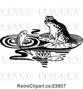 Vector Clip Art of Retro Frog and Fish by Prawny Vintage