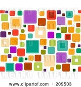 Vector Clip Art of Retro Funky Seamless Square Pattern over White by BNP Design Studio