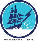 Vector Clip Art of Retro Galleon Ship with Lightning in a Blue and White Circle by Patrimonio