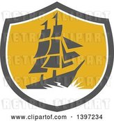 Vector Clip Art of Retro Galleon Ship with Lightning in a Gray White and Yellow Shield by Patrimonio