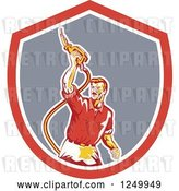 Vector Clip Art of Retro Gas Station Attendant Guy Holding up a Nozzle in a Shield by Patrimonio