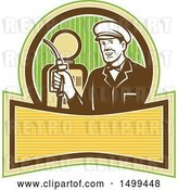 Vector Clip Art of Retro Gas Station Attendant Holding a Nozzle over a Pump by Patrimonio