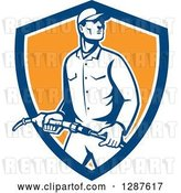 Vector Clip Art of Retro Gas Station Attendant Jockey Holding a Nozzle in a Blue White and Orange Shield by Patrimonio