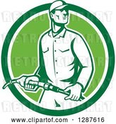 Vector Clip Art of Retro Gas Station Attendant Jockey Holding a Nozzle in a Green and White Circle by Patrimonio