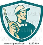 Vector Clip Art of Retro Gas Station Attendant Jockey Holding a Nozzle in a Turquoise White and Blue Shield by Patrimonio