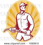 Vector Clip Art of Retro Gas Station Attendant Jockey Holding a Nozzle over Orange Rays by Patrimonio