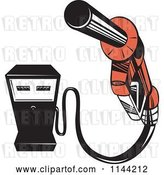 Vector Clip Art of Retro Gas Station Pump and Nozzle by Patrimonio