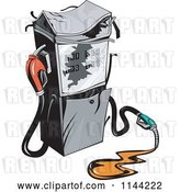 Vector Clip Art of Retro Gas Station Pump and Spill by Patrimonio