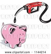 Vector Clip Art of Retro Gas Station Pump Nozzle Dripping into a Piggy Bank by Patrimonio
