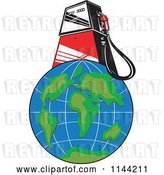 Vector Clip Art of Retro Gas Station Pump on Earth by Patrimonio