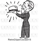 Vector Clip Art of Retro Gentleman Admiring a Hat by BestVector