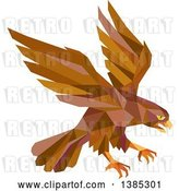 Vector Clip Art of Retro Geometric Brown Low Poly Peregrine Falcon Swooping for Prey by Patrimonio
