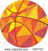 Vector Clip Art of Retro Geometric Low Poly Style Basketball by Patrimonio