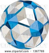 Vector Clip Art of Retro Geometric Low Poly Style Soccer Ball by Patrimonio