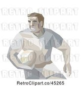 Vector Clip Art of Retro Geometric Male Rugby Player by Patrimonio