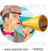 Vector Clip Art of Retro Geometric White Male Director Using a Bullhorn in a Blue Circle by Patrimonio