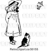 Vector Clip Art of Retro Girl and Cat Watching Butterflies by Prawny Vintage