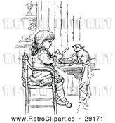 Vector Clip Art of Retro Girl and Kitten Eating by Prawny Vintage