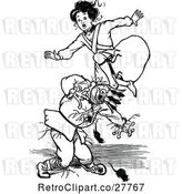 Vector Clip Art of Retro Girl Jumping over a Scarecrow and Mice by Prawny Vintage