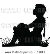 Vector Clip Art of Retro Girl Sitting in Grass by Prawny Vintage