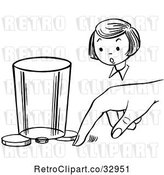 Vector Clip Art of Retro Girl Watching a Boy Perform a Moving Coin Magic Trick by Picsburg