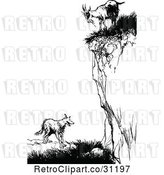 Vector Clip Art of Retro Goat on a Cliff over a Fox by Prawny Vintage