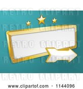 Vector Clip Art of Retro Gold Sign and Arrow with Stars on Turquoise by Elaineitalia