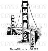 Vector Clip Art of Retro Golden Gate Bridge by Prawny Vintage